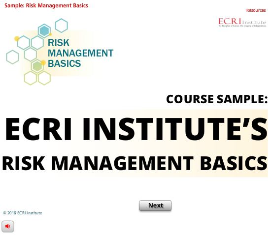 Sample: ECRI Institute's Risk Management Basics